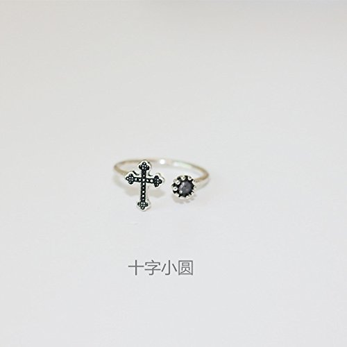Women Gift Joint Thai Silver Jewelry Ring Opening Combination Influx People Tail Ring Ring Ring for Women Retro Jewelry (Cross Pebbles