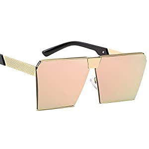 Eyerno Fashion Oversized Flat Top Mirrored Sunglasses Vintage Square Glasses(Pink)