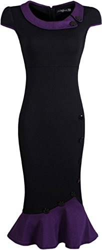 Jeansian Mujer Vestido De Las Tendencia Temperamento Dobladillo Espina De Pescado Women Trend Temperament Fishtail Hem Dress WKD183 Black