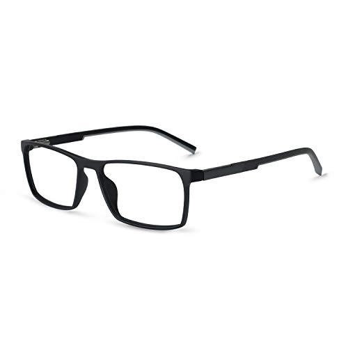 OCCI CHIARI Rx Fashion Glasses Frame Non-Prescription Eyeglasses Tr90 Eyewear For Men women(Black+Gray)