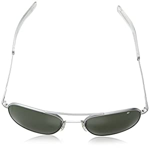 American Optical Pilot Aviator Sunglasses 57 mm Silver Frame with Bayonet Temples and True Color Gray Glass Lenses