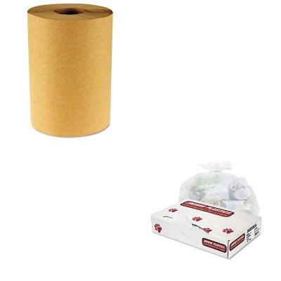 KITBWK6256JAGD38634CL - Value Kit - Jaguar Plastics D38634CL Clear Industrial Strength 2.7 Mil Drum Can Liners, 38quot; x 63quot; (JAGD38634CL) and Boardwalk 6256 Natural Hardwound Roll Paper Towels, 8quot; x 800' (BWK6256)