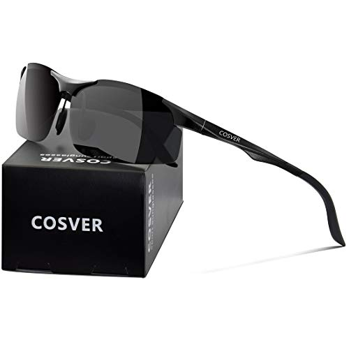 23f81674cd COSVER Men s Polarized Sports Sunglasses for Men Driving Cycling Running  Fishing Golf Unbreakable Frame Metal Glasses