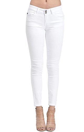 Kan Can Women's Mid Rise Ankle Length Skinny Jeans (9, White)