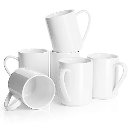 Sweese 6212 Porcelain Coffee Mug Set - 11 oz for Coffee, Tea, Cocoa and Mulled Drinks - Set of 6, White