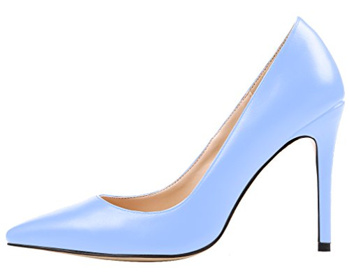 Aooar Donna Slip Con Tacco Su Scarpe Pompe A Punta Scarpe Blu Chiaro
