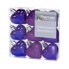 Christmas Decorations 9 Pack 40mm Multi Finish Heart baubles - Purple -