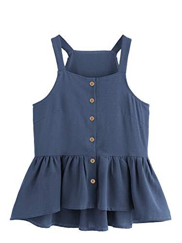 Verdusa Women's Casual Single Breasted Ruffle Hem Racerback Cami Top Shirt Blue L Cami Womens Casual Shirts