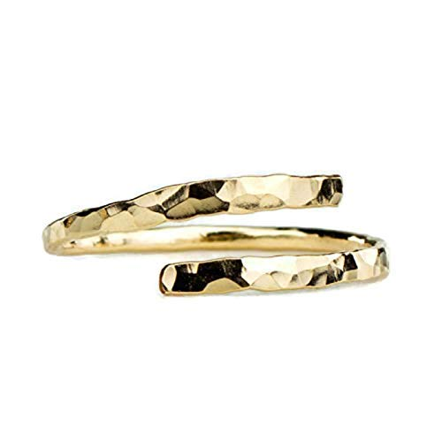 (Gold Thumb Ring Faceted Adjustable Wrap Around 14k Gold Filled Handmade in the USA)