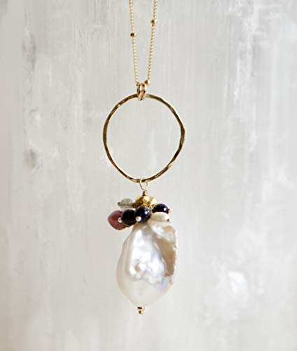 Goldstone Freshwater Necklace - White Baroque Pearl and Gold Filled Circle Cluster Necklace - 28