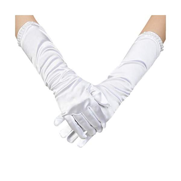 Ciaoed Flower Girl Wedding Long Golves,Dress Beading Golves for Formal Pageant, Age 4-12(White)