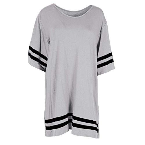 L Gris Shirts AiBarle Pull Manches t pour Courtes Baggy d't Rayures gris Top Femme Femme Chemisier qUq6pOw