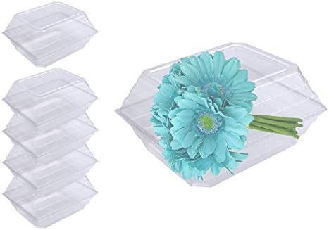 Curtis Wagner Plastics CW-1214-25 Clear Wedding Bouquet Flower Boxes 5-Pack -12 x 14 x 7 Size, Plastic Floral Containers for Corsage, Boutonniere, Roses, Small Large Flowers, Gift Craft Box