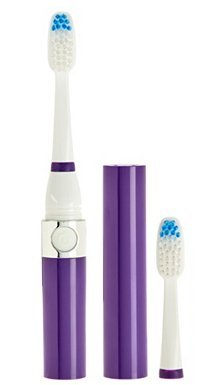 Pursonic S52 Portable Battery Operated Sonic Toothbrush To-Go with 2 Brush Heads & AAA Battery Included, Purple, 0.2 Pound