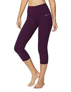 Baleaf Women's High Waist Yoga Capri Leggings Tummy Control Non See-Through Fabric Dark Magenta Size S