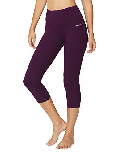 Baleaf Women's High Waist Yoga Capri Leggings Tummy Control Non See-Through Fabric Dark Magenta Size XXL