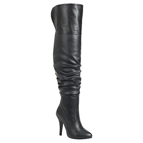 Forever Link Womens Focus-33 Fashion Stylish Pull On Over Knee High Sexy Boots, Premier Black, 10 B(M) US ()