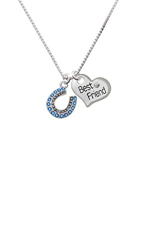 Beaded Blue Crystal Horseshoe with Good Luck - Best Friend Heart Necklace