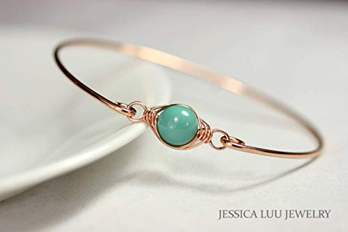 Swarovski Jade Bracelet - Rose Gold Green Turquoise Bangle Bracelet with Jade Swarovski Pearl Wire Wrapped Choice of Rose or Yellow Gold Filled