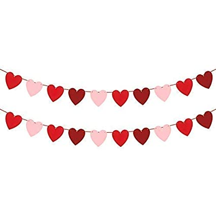 amazon com katchon felt heart garland banner no diy valentines rh amazon com valentines day decorations