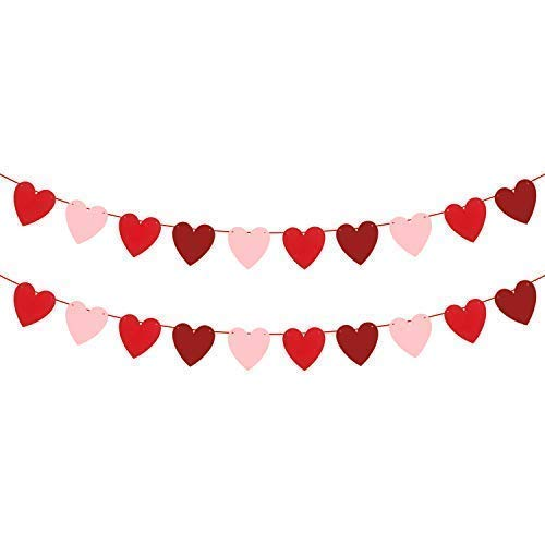 KATCHON Felt Heart Garland Banner - NO DIY - Valentines Day Banner Decor -Valentines Decorations - Anniversary, Wedding, Birthday Party Decorations - Red, Rose Red and Light Pink Color -