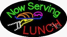 Now Serving Lunch LED Sign - 15 x 27 x 1 inches - Made in USA
