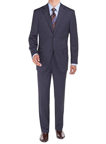 Bianco B Men's Suit Sharkskin Two Button Jacket Modern Fit Suit Blazer & Pants (40 Regular US / 50 Regular EU, French Blue)