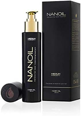 Nanoil, Medium Porosity Control Hair Repair Oil To Moisturize and Prevent Dryness and Frizz, Contains 6 Natural Oils (Argan, Coconut, Jojoba, Macadamia, Maracuja and Marula), 100 Milliliters