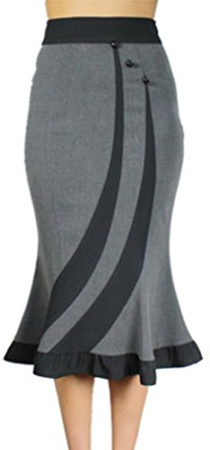 (XS-XXL) - RARE - LIMITED EDITION - Smooth Boss - Gray 40s 50s Pencil Pinup Retro Vintage Style Flared Skirt (XXL)