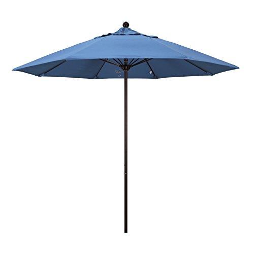 California Umbrella 9' Round Aluminum/Fiberglass Umbrella, Push Open, Bronze Pole, Olefin Frost Blue Fabric