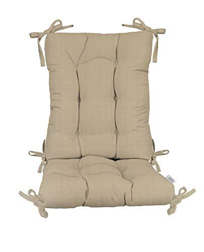 Indoor/Outdoor Sunbrella Linen Antique Beige Rocking Chair 2 Pc Tufted Cushion Set ~ Choose Size (Back Cushion:18