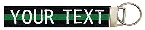 Northern Safari Personalized Uniform Name Tapes Logo Key Chain/Luggage Tag, Black Fabric/Green Line, 6'' Logo Keychain by Northern Safari (Image #1)