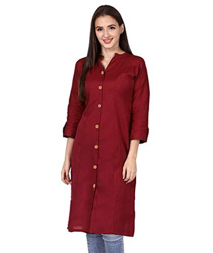 Brand Vastraa Fusion Women Cotton Button Kurta/Kurti – Available in 25+ Colours and 9 Size Options