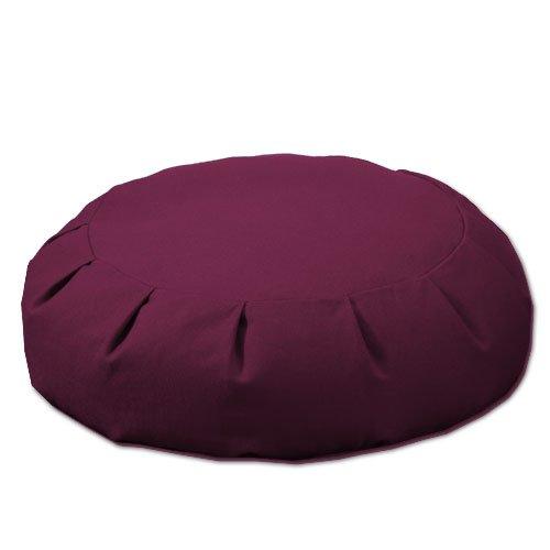 DharmaCrafts Buckwheat Zafu Round Meditation Yoga Cushion (Classic Maroon)