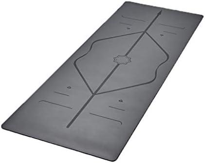 運動ヨガマット ヨガマット5mmの天然ゴムが広く、耐摩耗性の男性と女性のフィットネスヨガマットを長く プレミアムヨガマット (Color : Gray)