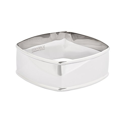 Large Square Bangle - EDFORCE Stainless Steel Women's Plated Square Bangle Bracelet Large Hammered Slip-On Stackable, 64mm x 64mm