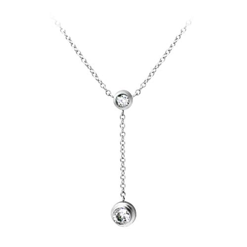 555Jewelry Womens Stainless Steel Metal Charming Lariat Style Y Droplet Cable Chain Brilliant Drop Round CZ Layered Hypoallergenic Fashion Jewelry Accessory Pendant Necklace, Silver 18 Inch