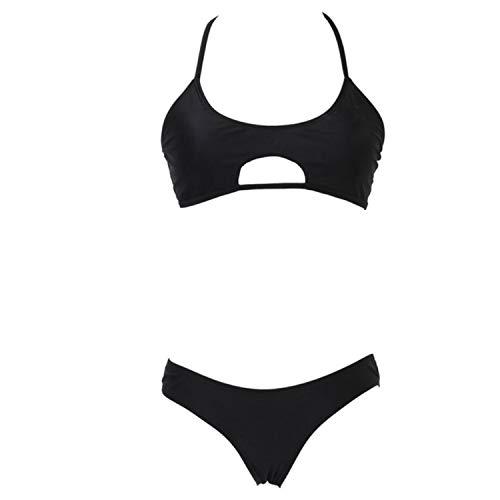 Thong Bikini Set Women Swimwear Padded Bra Waist Wire Free Swimsuit Bathing Suit Bikinis,Black,S