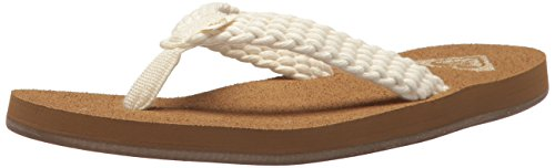 Roxy Women's Porto Sandal Flip-Flop, Cream New, 8 M (Roxy Cream)