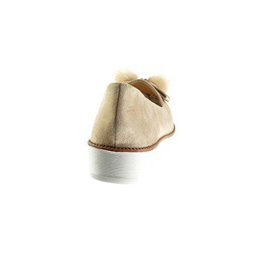 Angkorly Damen Schuhe Mokassin - Slip-on - Knoten - Bommel - Strass Keilabsatz High Heel 3 cm Beige