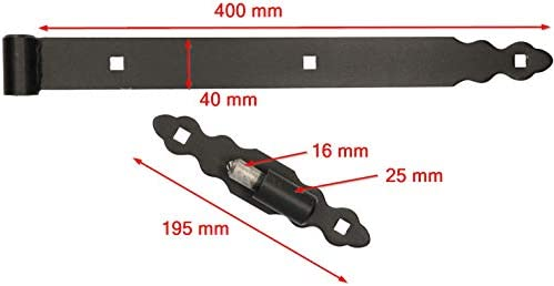 KOTARBAU inoxidable Bisagra de puerta de 300 mm para puerta de jard/ín color negro