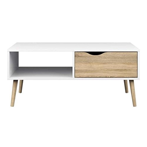 White Coffee Table with Single Timber Drawer