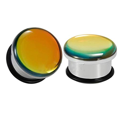 (316l Stainless Steel Single Flare Tunnel Plugs with Reflective Effect Gem Front (Gold, 8mm(0g)))