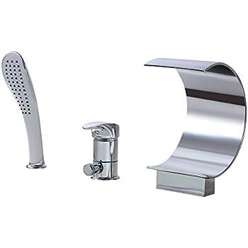Auxo Roman Waterfall Tub Filler Faucet Single Handle 3