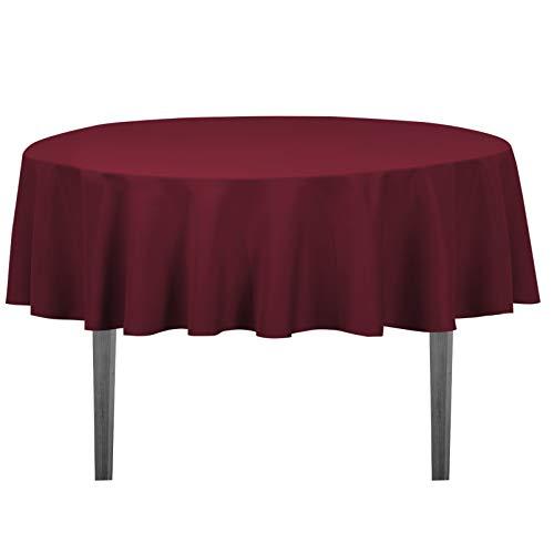 Burgundy Elegance Round Tablecloth - LinenTablecloth 70-Inch Round Polyester Tablecloth Burgundy