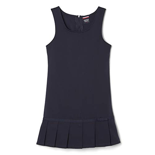 French Toast Little Girls' Toddler Pleated Hem Jumper with Ribbon, Navy, 4T