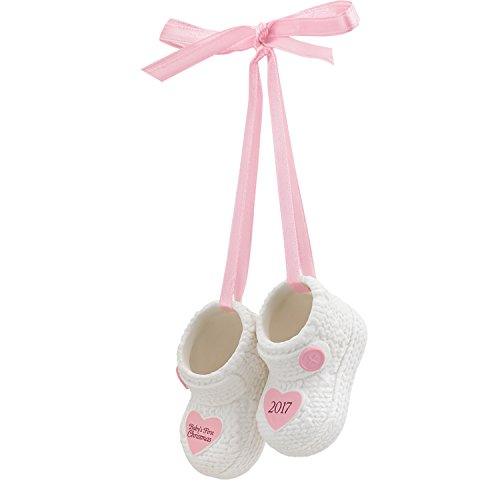 Carlton Ornament 2017 Baby's First Christmas - Girl - Porcelain Booties - Ornament Bootie Baby