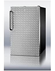Summit FF521BLBI7DPLADA Refrigerator, Silver With Diamond Plate