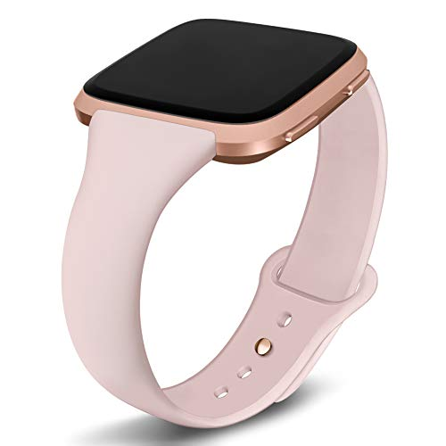 Kmasic Compatible Versa Bands, Slim Soft Silicone Small Replacement Wristband for Versa/Versa Lite Edition Women Men (Sand Pink with Rose Gold Button, Small 5.5