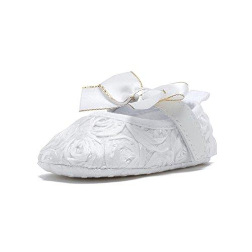 Tefamore Bebé recién nacido suave fondo antideslizante zapatos chica cuna Jane grandes zapatos de flores Blanco